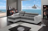 Промоция на Луксозен диван с лежанка в бяло и сиво