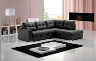 Промоция на Черен кожен ъглов диван