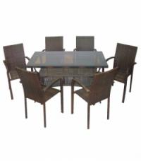 Промоция на Кафяв ратан-трапезна маса 130см. и 6 стола